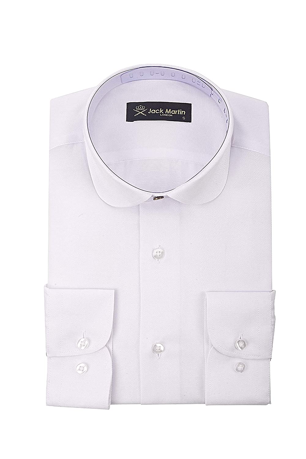 Vintage Shirts – Mens – Retro Shirts Jack Martin London Peaky Blinders - Club/Penny Collar - White Herringbone Slim Fit Shirt £29.00 AT vintagedancer.com