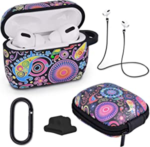 AIRSPO AirPods Pro Case Silicone Protective Case Cover for Apple AirPods Pro Charging Case 5 in 1 airpods pro Accessories with Storage Box, Keychain, Anti-Lost Strap (Bohemian)