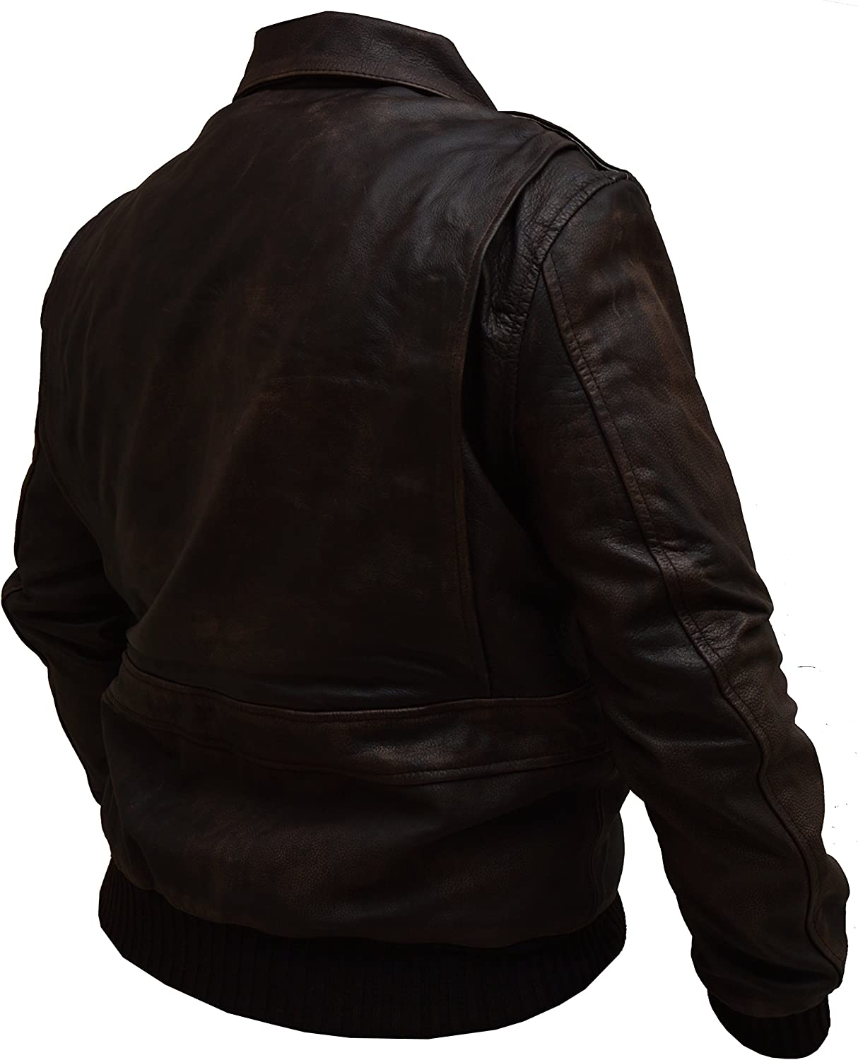 Mens Aviator A-2 Air Force Flight Navy Distressed Real Leather Bomber Jacket