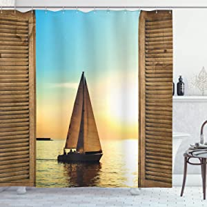 Ambesonne Nautical Shower Curtain Sea Life Decor, Sailboat on The Ocean Scenic Sunset View from Rustic Wooden Frames, Fabric Bathroom Set with Hooks, 70