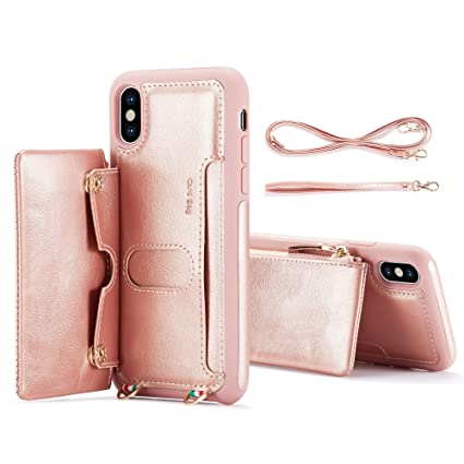 meet 20725 2e25d iPhone XS Max Case 2018, ANBAN Detachable Wallet Leather Case [Crossbody &  Wrist Strap] [Card Slot] [Supporting Car Mount] Handbag Zipper Case ...