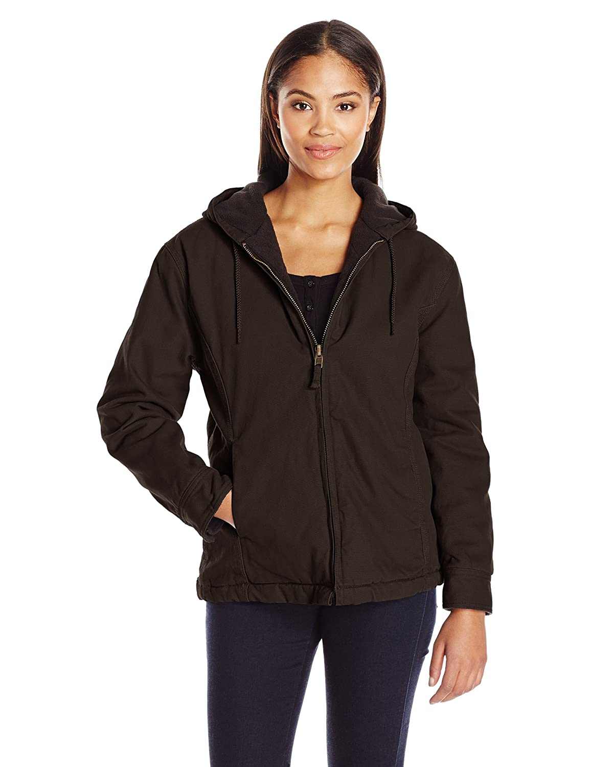 Chocolate Key Apparel Womens Premium Insulated Fleece Lined Hooded Jacket Outerwear