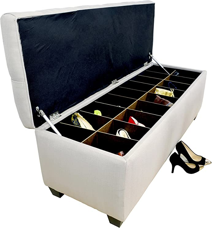 MJL Furniture Designs Diamond Tufted Ottoman/Bedroom Bench with Shoe  Storage, 20\