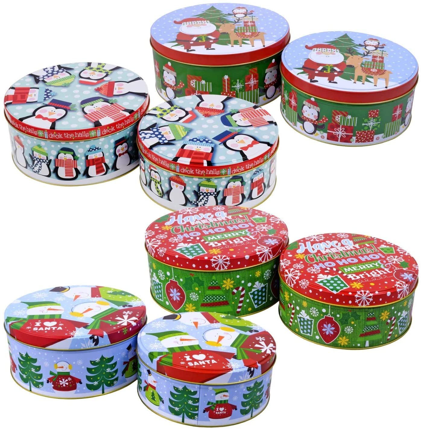 Round Nesting Tins With Holiday Print Designs Bundle of 2 Round Metal Tins with Lids for Cookies, Candy, Food Presents - 1- 6 and 3/4 Inches and 1- 6 inches Diameter