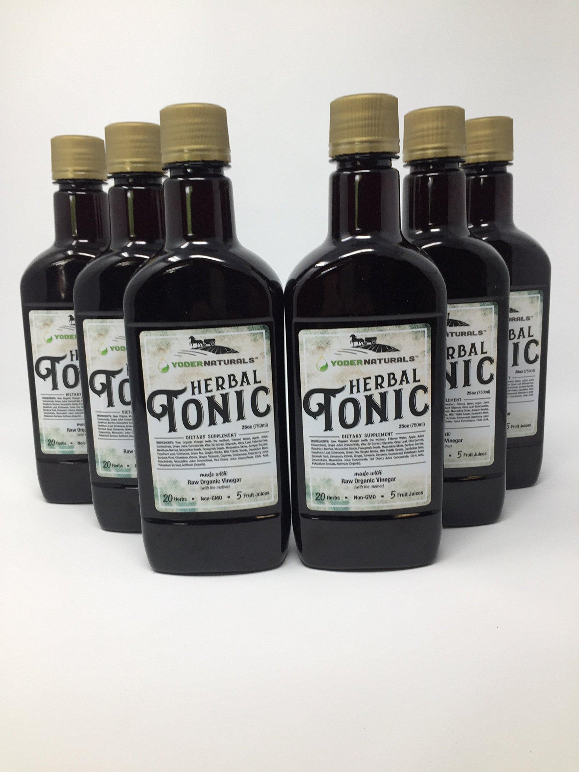 Yoder Naturals Herbal Tonic Herb Infused Apple Cider Vinegar Supplement 25 fl oz, 6 bottle deal, 6 x 25 fl oz by Yoder Naturals