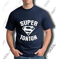 Gazol Cadeau Super Tonton. T-Shirt Homme Coton col Rond.