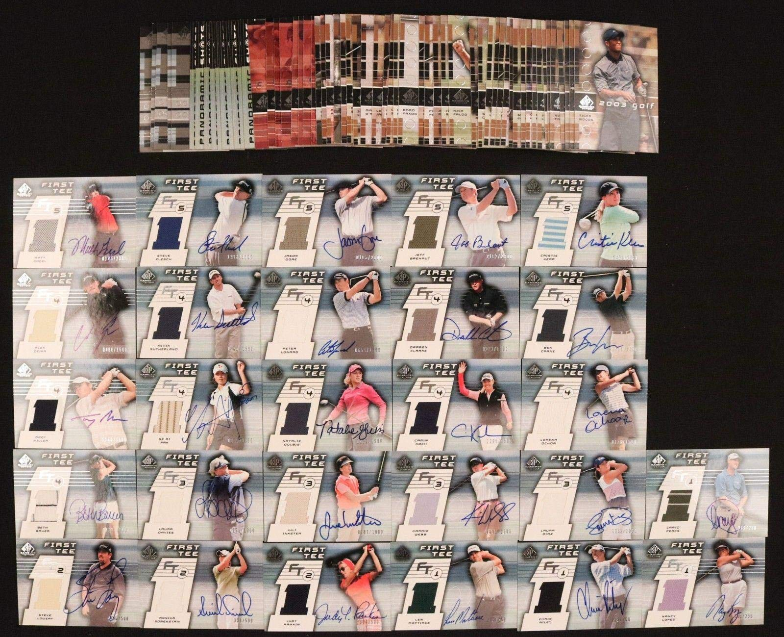 2003 Upper Deck SP Game Used Golf Complete Set (1 87) Inc. 27 Shirt/Autos Golf Tournament Used