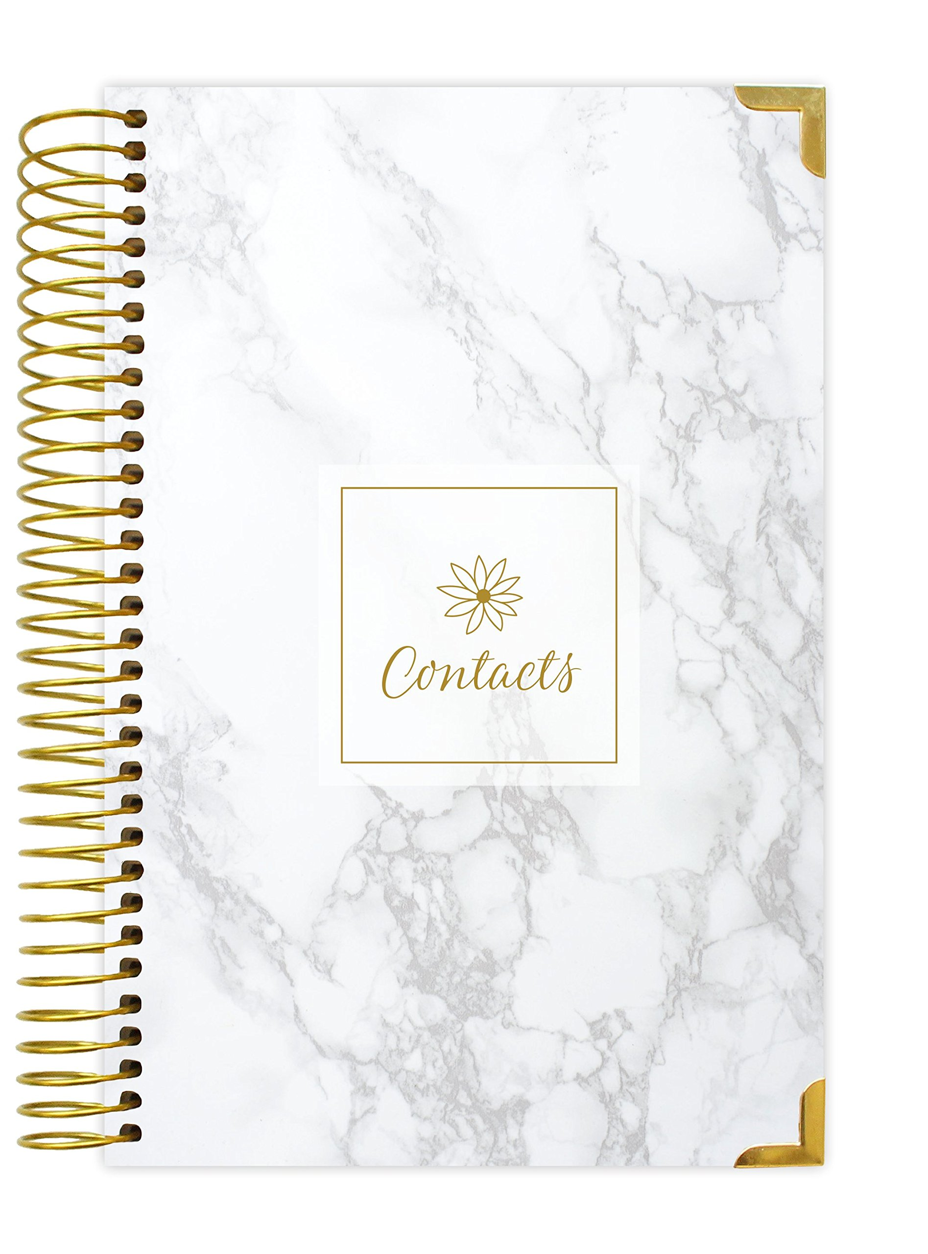 bloom daily planners Address Book - Contacts - Addresses and Phone Numbers - 6'' x 8.25'' - Marble