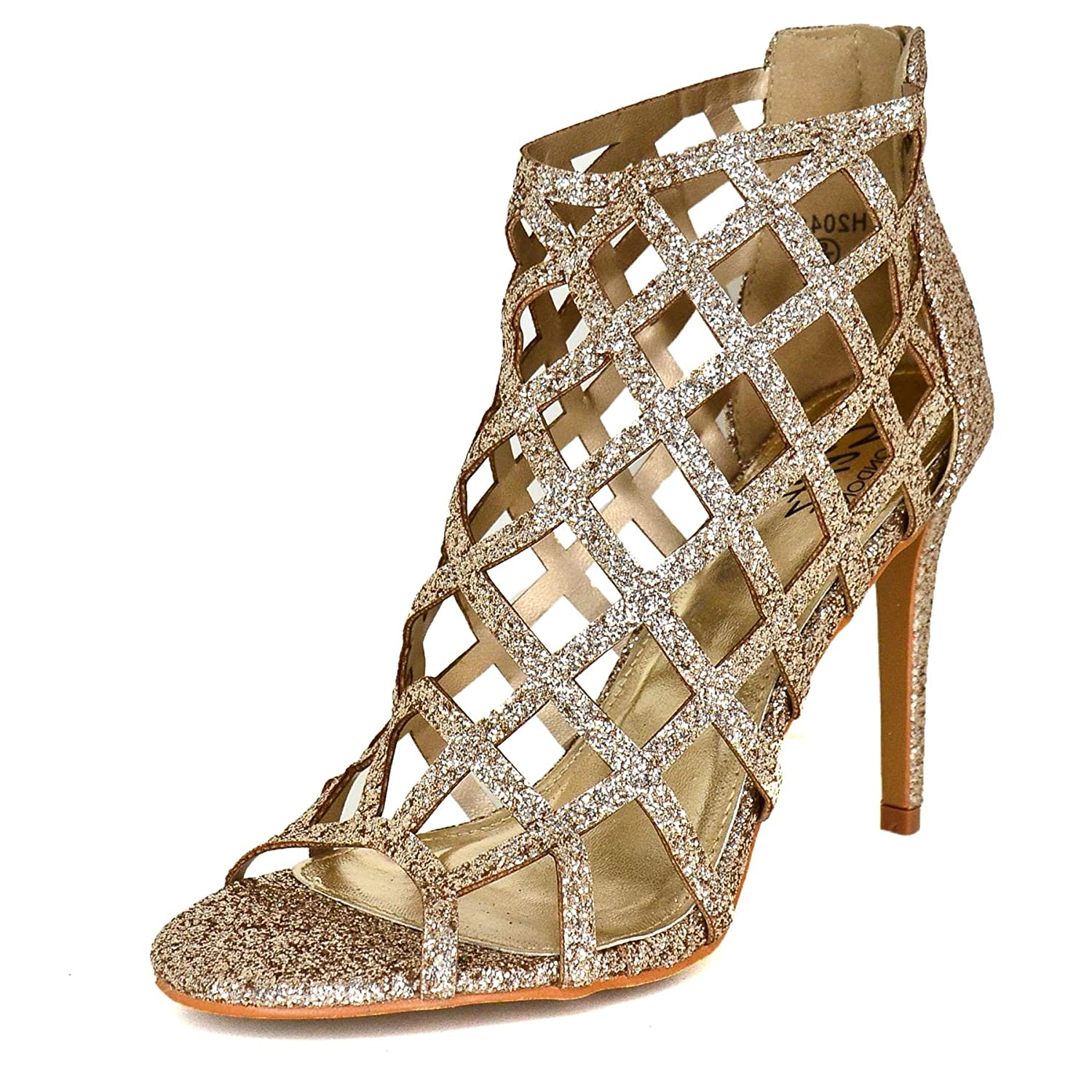 Ladies Metallic Stiletto Christmas Party Shoes Evening Caged Open Toe High Heels