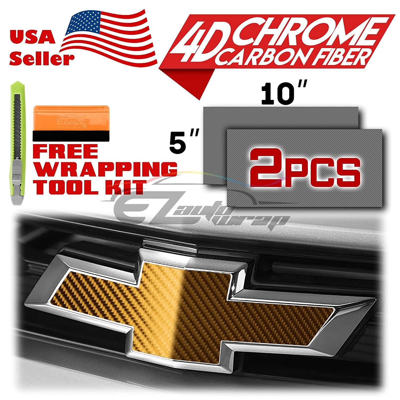 EZAUTOWRAP Free Tool Kit 2Pcs 5x10 Chevy Emblem Bowtie 4D Chrome Carbon fiber Silver Vinyl Wrap Sticker Decal Film Overlay Sheet