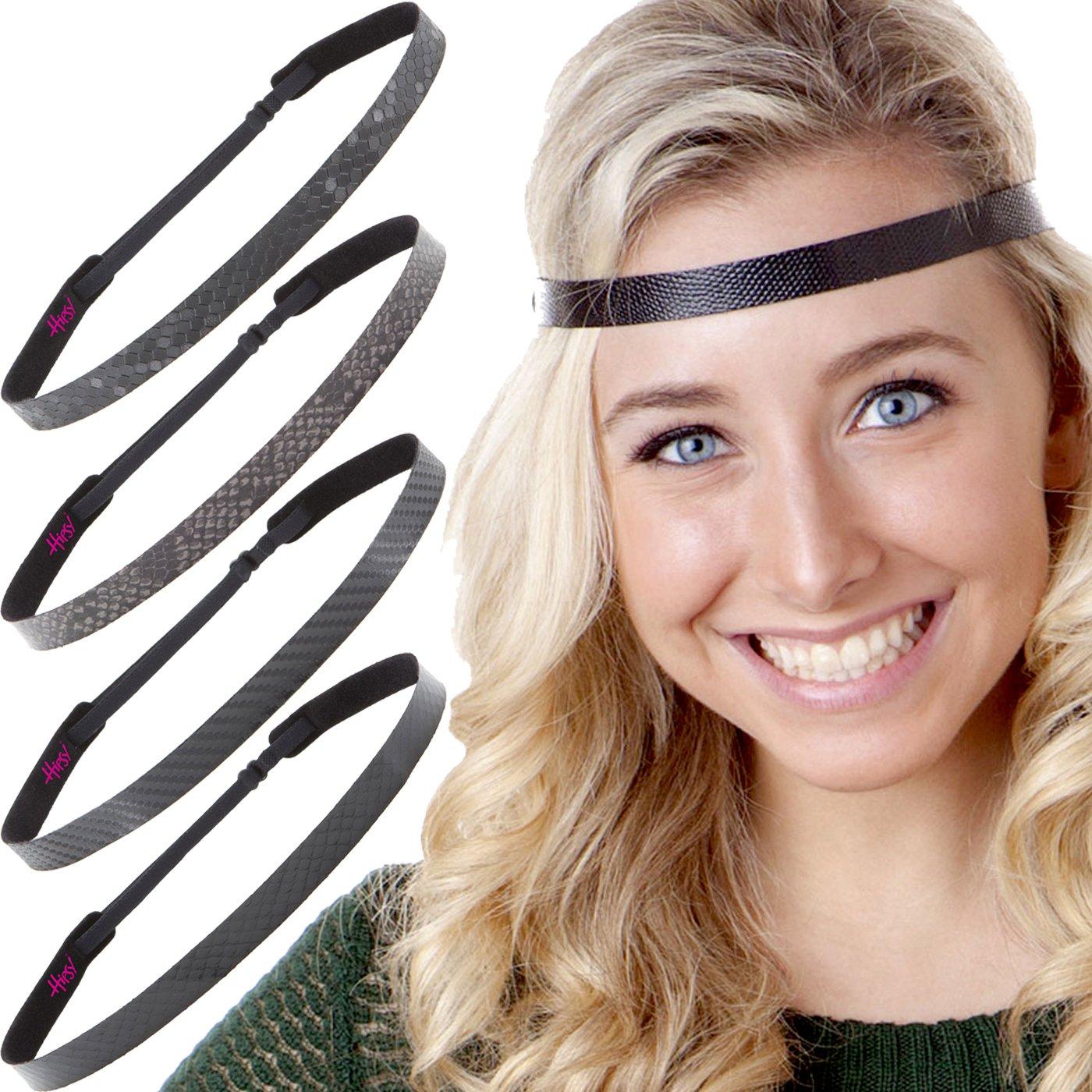 Hipsy Women's Adjustable Cute Fashion Headbands Hairband Gift Pack (Black Headband 5pk)