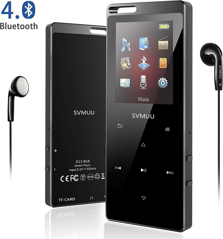 SVMUU Reproductor MP3 MP4 Bluetooth 8 GB, Reproductor de Música Deporte 1.8 Pulgadas Cuerpo Efecto Espejo y Botón Táctil Radio FM,Grabarora de Voz Soporte hasta 64GB