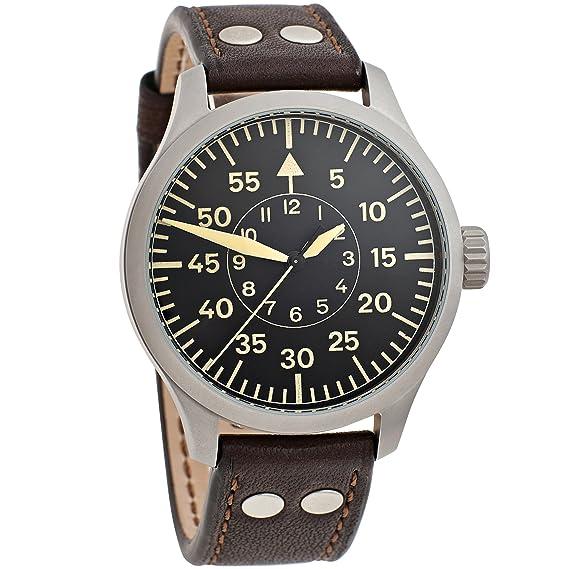 Aristo 3h142 Hombre Reloj de pulsera vintage Pilot cuerda manual acero inoxidable piel marrón: Amazon.es: Relojes