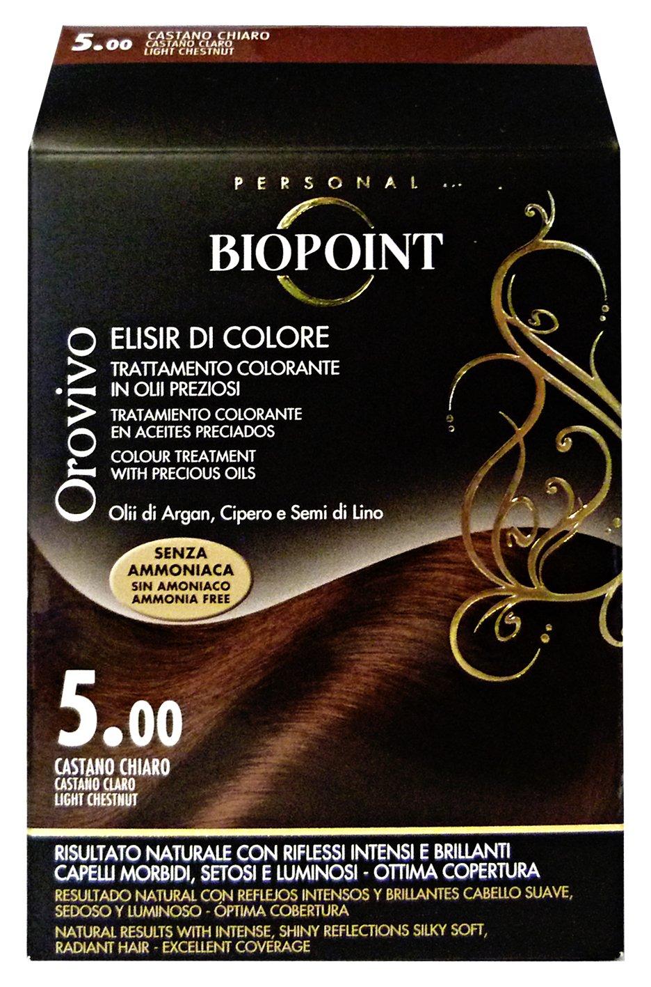 Biopoint Orovivo - Tinte para el cabello (tono castaño claro 5.0) - 60 ml.