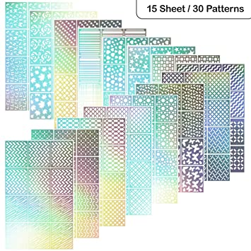 Nail Stencils ETEREAUTY 180 Pieces Vinyls Stencil Sticker Sheets For Art Design