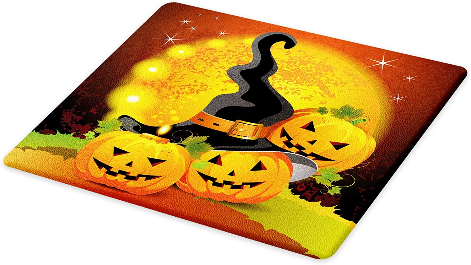 Lunarable Halloween Cutting Board Haunted House with Dark Horror Atmosphere...