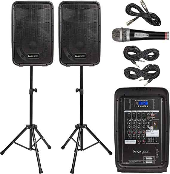 """Knox Dual Speaker and Mixer Kit – Portable 8"""" 300 Watt DJ PA System with Wired Microphone"""