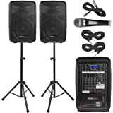 """Knox Dual Speaker and Mixer Kit – Portable 8"""" 300 Watt DJ PA System with Wired Microphone, and Tripods – 8 Channel Amplifier"""