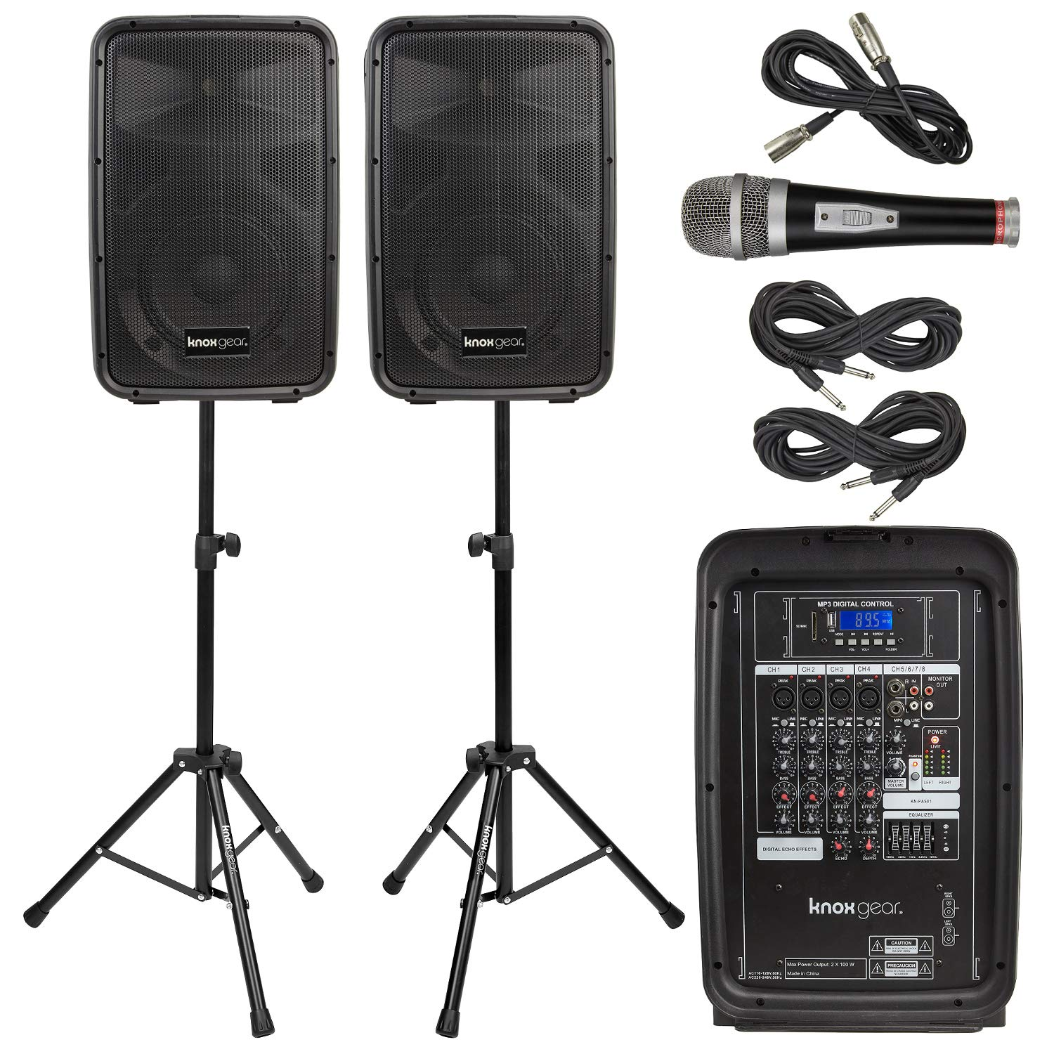 Knox Dual Speaker and Mixer Kit - Portable 8'' 300 Watt DJ PA System with Wired Microphone, and Tripods - 8 Channel Amplifier - Bluetooth, USB, SD, 1/4'' Line RCA, XLR Inputs
