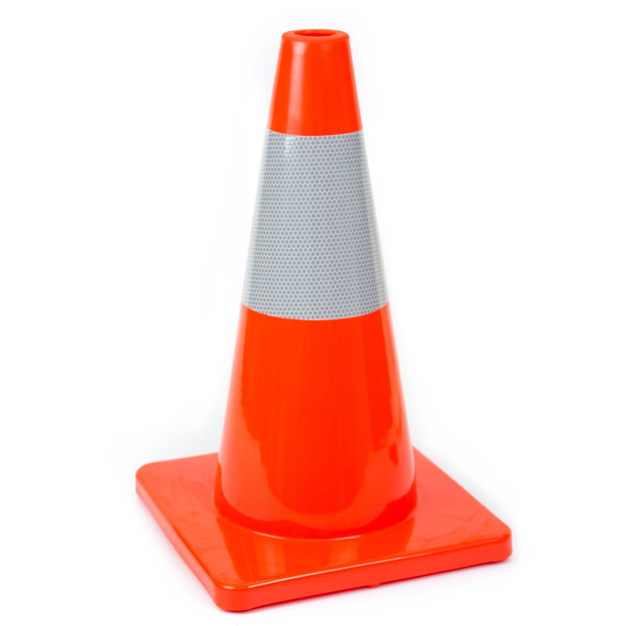 (Set of 12) 18'' RK Orange Safety Traffic PVC Cones, Orange Base with One Reflective Collar