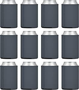TahoeBay 25 Neoprene Can Sleeves for Standard 12 Ounce Cans Blank Beer Coolers (Charcoal, 25)