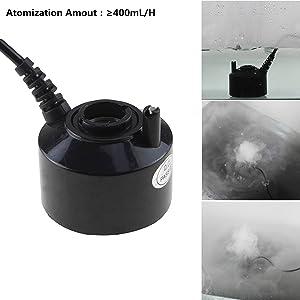 AGPTEK 400mL/H Original Mini Mist Maker Fogger Water Pond Garden Fountain Fogger Indoor Outdoor Fountain Accessories Fog Machine Atomizer Air Humidifier