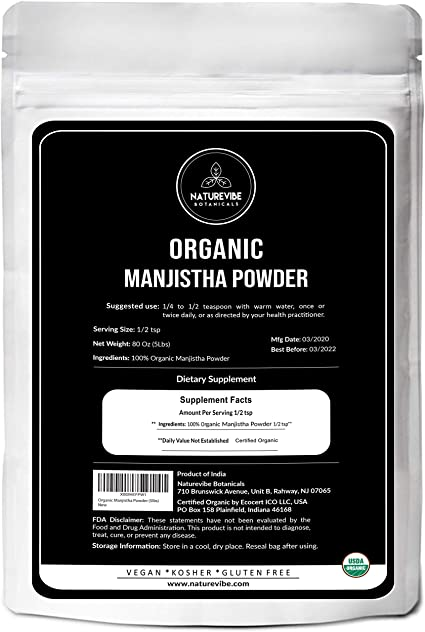 Amazon Com Naturevibe Botanicals Organic Manjistha Powder 5lbs Usda Organic Rubia Cordifolia Promotes Healthy And Clear Skin Supports Immune System 80 Ounces Health Personal Care