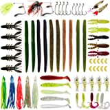 Gimland Soft Fishing Lures Kit for Bass, Baits Tackle Including Trout, Salmon, Spoon Lures, Soft Plastic Worms…