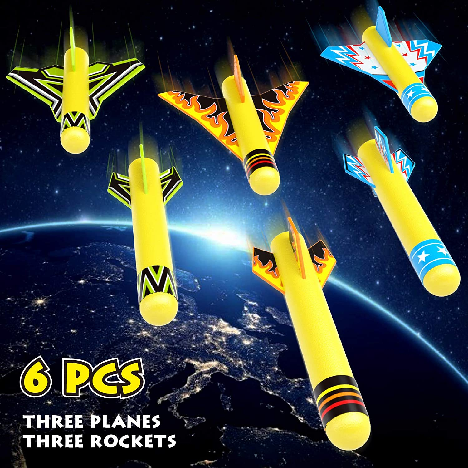 FUNOVA Rocket Launcher for Kids Space Toys for children Stomp Rocket Toy with 3 Foam Rockets and 3 Stunt Planes Jump Rocket Outdoor Toys Games Gift for Boys and Girls Age 5 6 7 8 9 10 Years Old