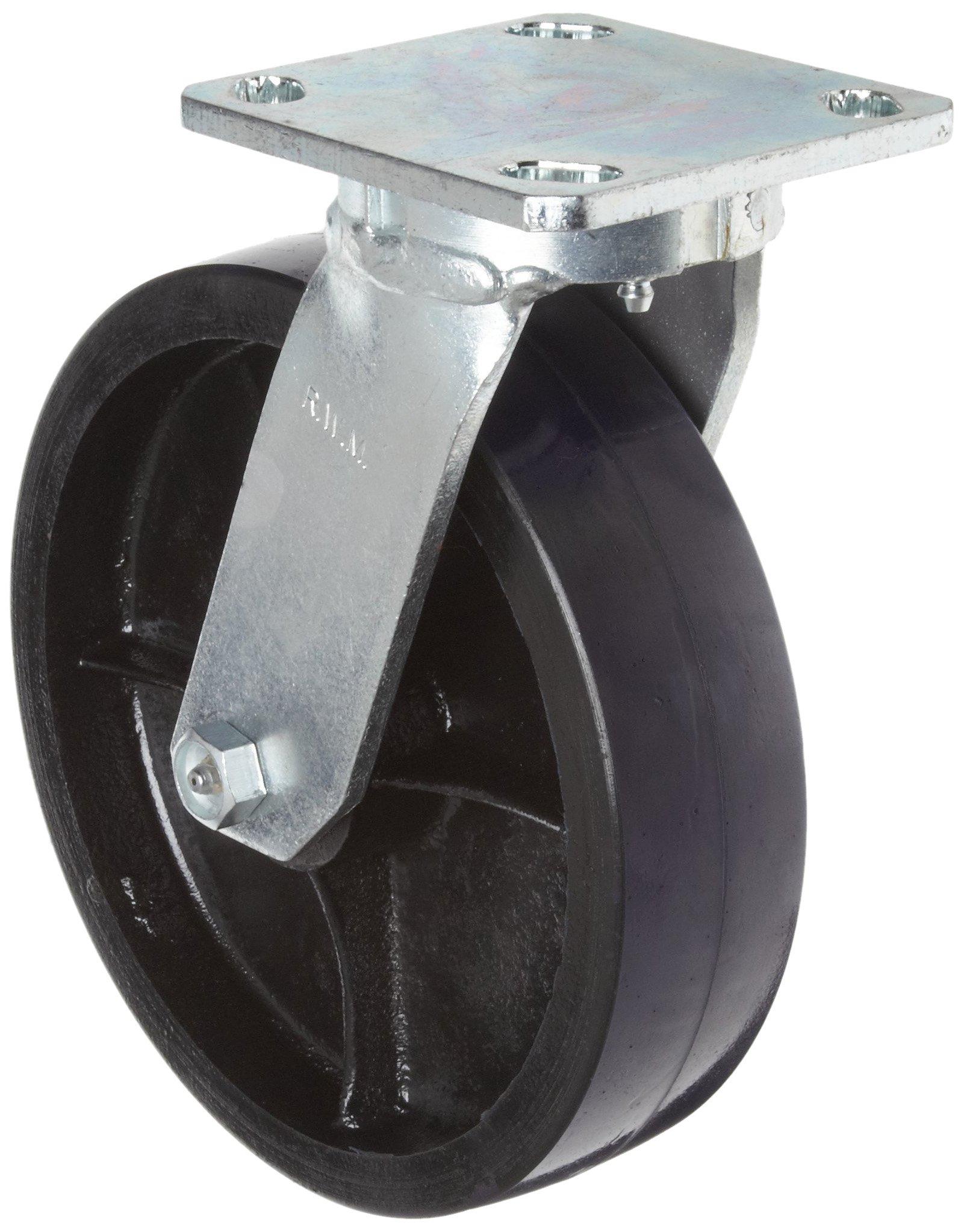 RWM Casters 65 Series Plate Caster, Swivel, Kingpinless, Urethane on Aluminum Wheel, Roller Bearing, 1500 lbs Capacity, 8'' Wheel Dia, 2'' Wheel Width, 10-1/8'' Mount Height, 4-1/2'' Plate Length, 4'' Plate Width