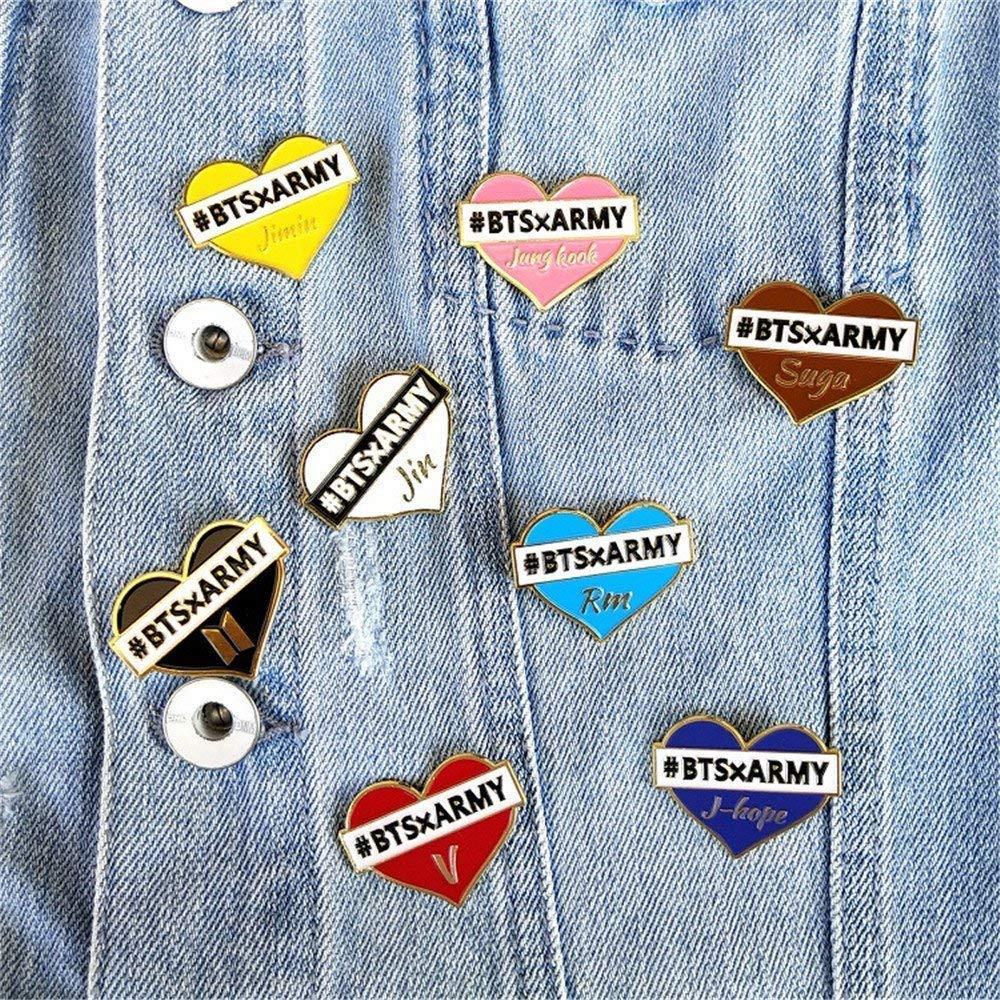 Discovery KPOP BTS Bangtan Boys vestiti cappelli metal badge spilla a forma di cuore smalto spilla pin carino accessori per abbigliamento zaino Taglia unica unisex Blue