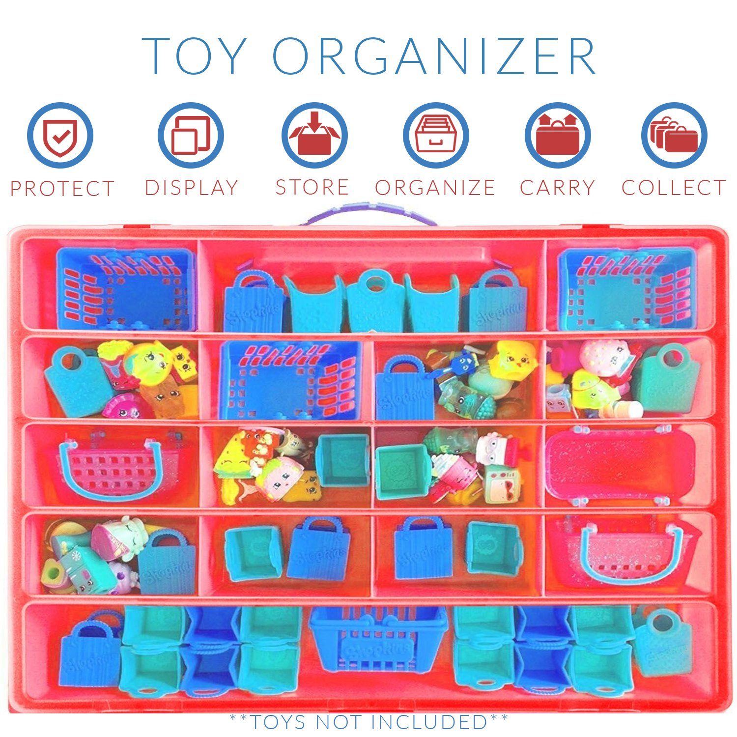 Compatible Carrying Case for Figurine Holder Life Made Better Storage Box for Shopkins Toys Red LMB107