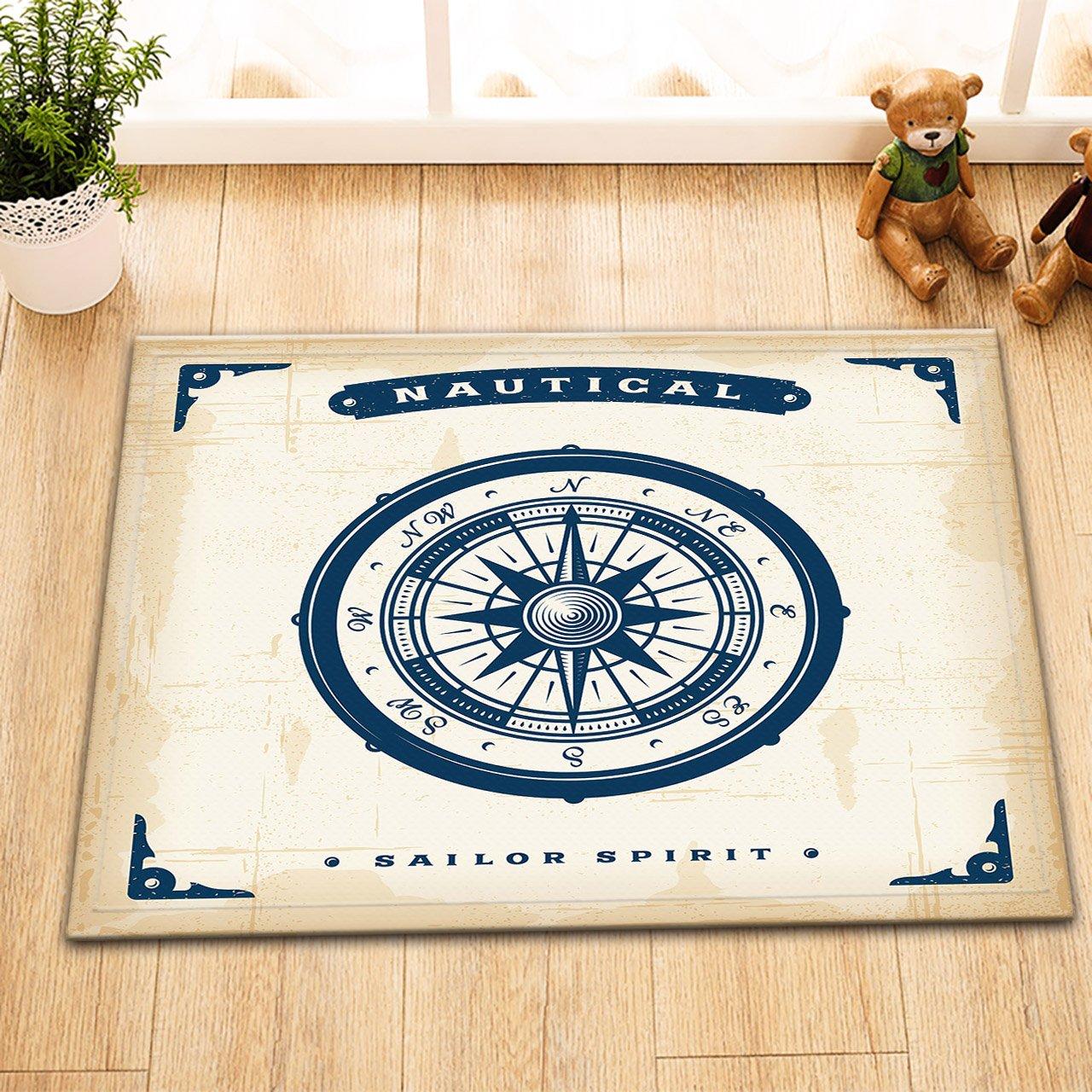nautical elements rudder washable bath mat door mat home accessory 60 X 40 cm LB Retro