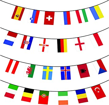 24 x different european flags 10m extra large multi nation bunting
