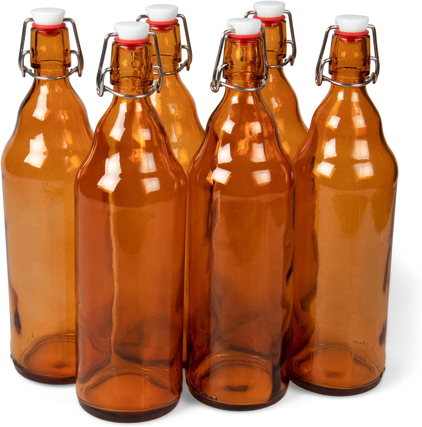 33 oz. Amber Glass Grolsch Beer Bottles, Quart Size – Airtight Seal with Swing Top/Flip Top - Supplies for Home Brewing & Fermenting of Alcohol, Kombucha Tea, Wine, Homemade Soda (6-pack)