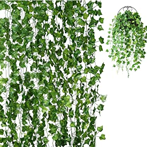 IMIKEYA 118 FT Artificial Ivy Garland, Fake Ivy Leaves Fake Leaf Plants Vine Hanging Garland Ivy Foliage Leaves for Wedding Party Home Garden Kitchen Office Outdoor Greenery Wall Décor, Style 3