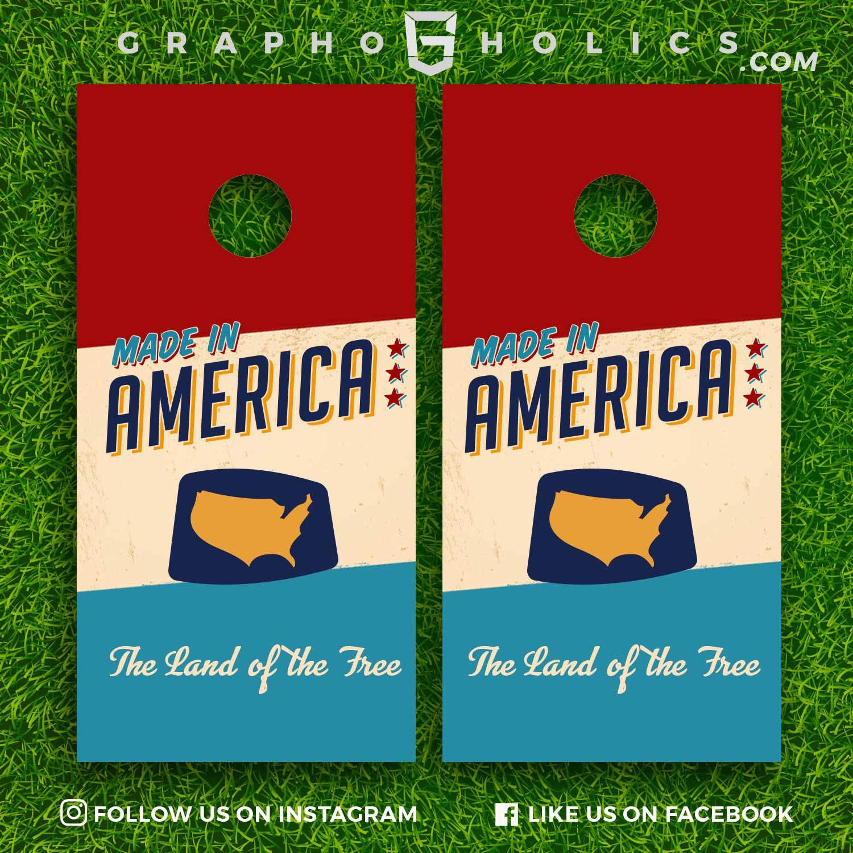 Vintage Made in America! Cornhole Boards Wraps Set