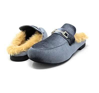 25b6efc0ae4 Sara Z Womens Ladies Backless Loafer Mule Shoes with Faux Fur Linings and  Buckle Grey Velvet