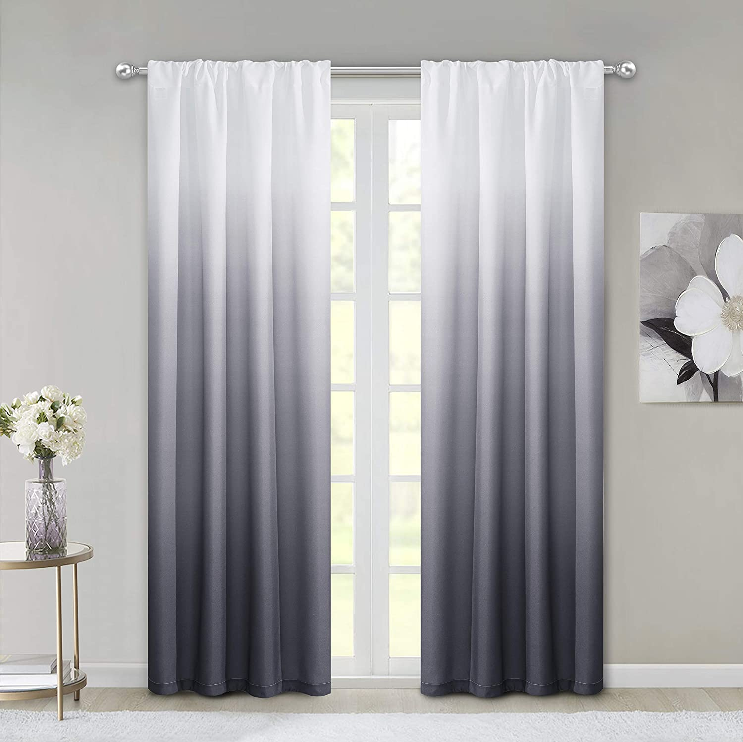 "Dainty Home Ombre Woven Shades of Color Rod Pocket Curtain Panel Pair Complete Set of 2, 40"" wide x 84"" long each, Gradient White to Black"