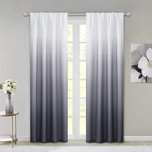 Dainty Home Ombre Woven Shades of Color Rod Pocket Curtain Panel Pair Complete Set of 2