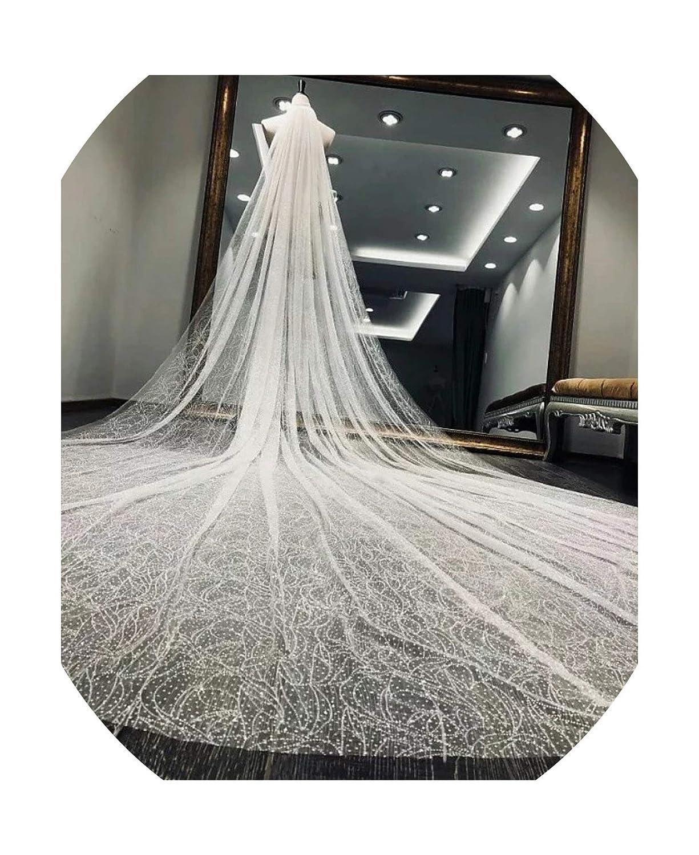 color Real Photo Gorgeous Flower dense dot veil Cathedral Veil Bling Bling Long Veils for Brides Veu De Noiva