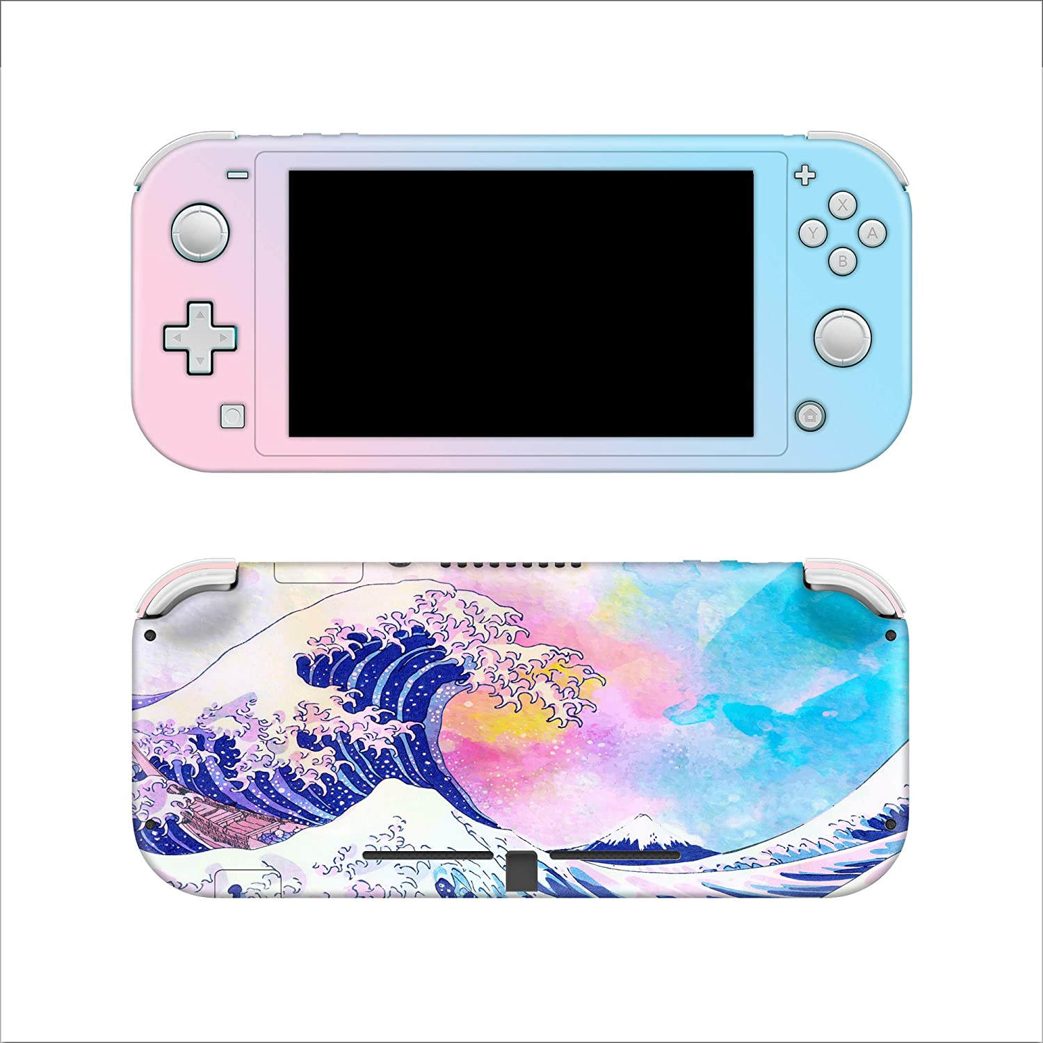 Watercolor The Great Wave Off Kanagawa Full Wrap for Switch Lite 3M Premium Vinyl 3M overlaminate