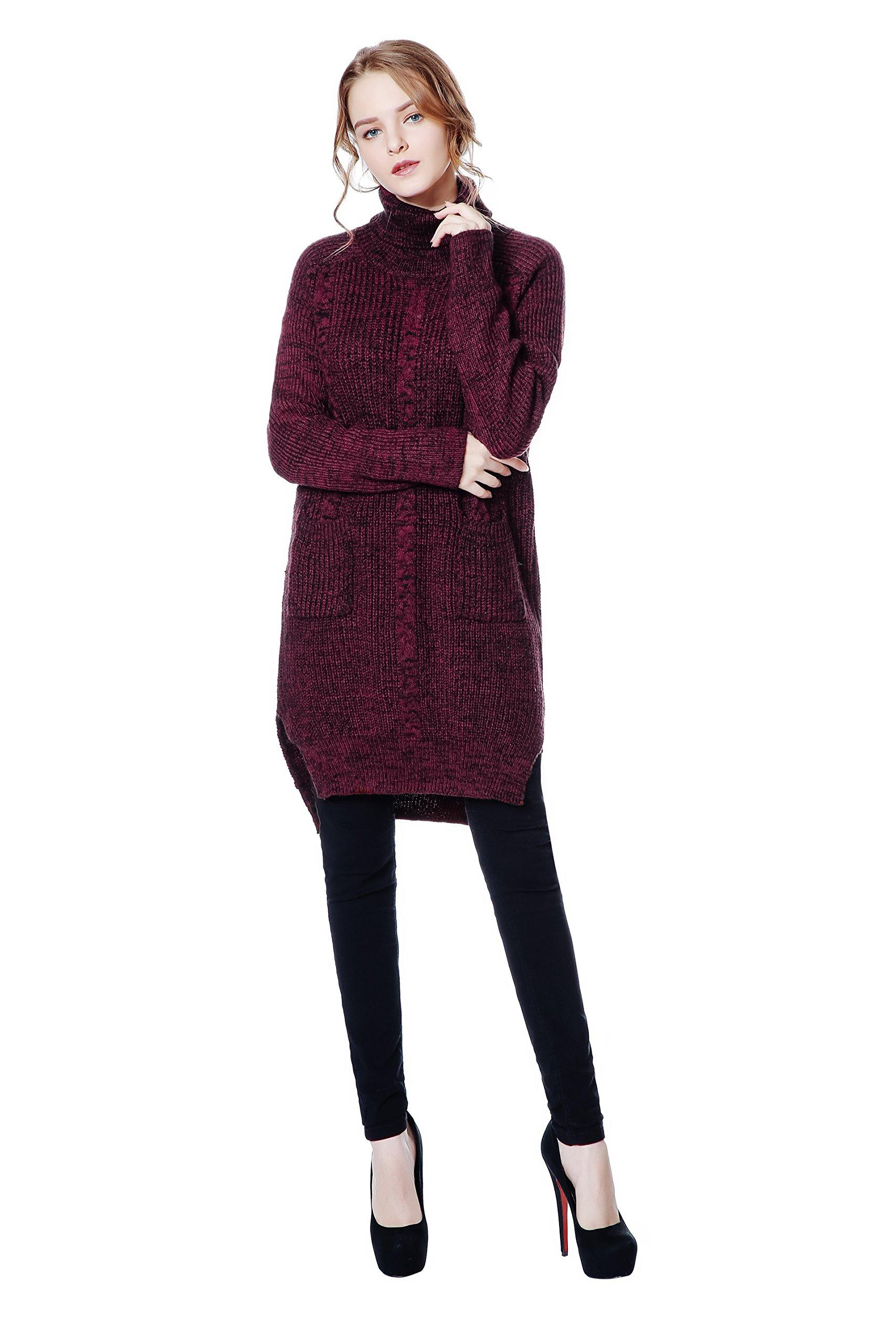 Metme Women's Classic Turtleneck Sweater Casual Style Knit Baggy Long Sleeve Knitwear Jumper