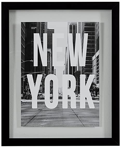 Amazoncom New York Black And White Art Print In Floating Glass