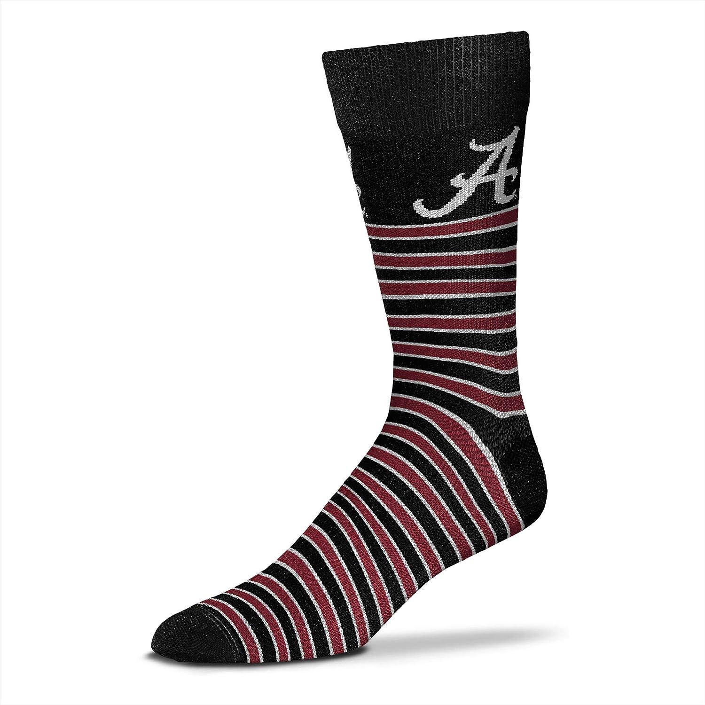 For Bare Feet Mens NCAA Thin Stripes Crew Dress Socks
