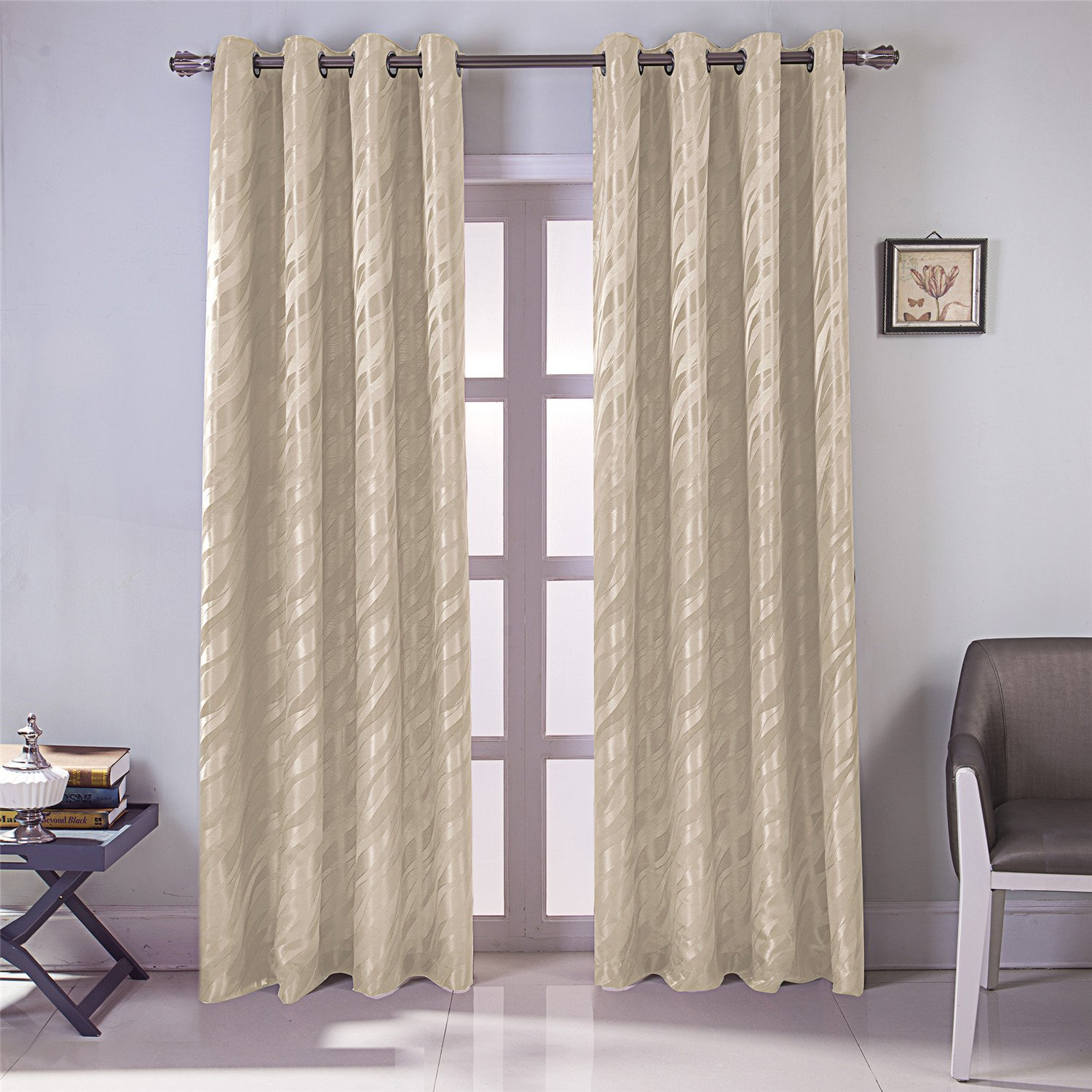 Jacquard Marble Geometry Pattern Curtain Faux Silk Double Layers Fully Lined Grommet Top Blackout Curtain Thermal Insulated Washable Drape Noise Reducing No Formaldehyde GYROHOME