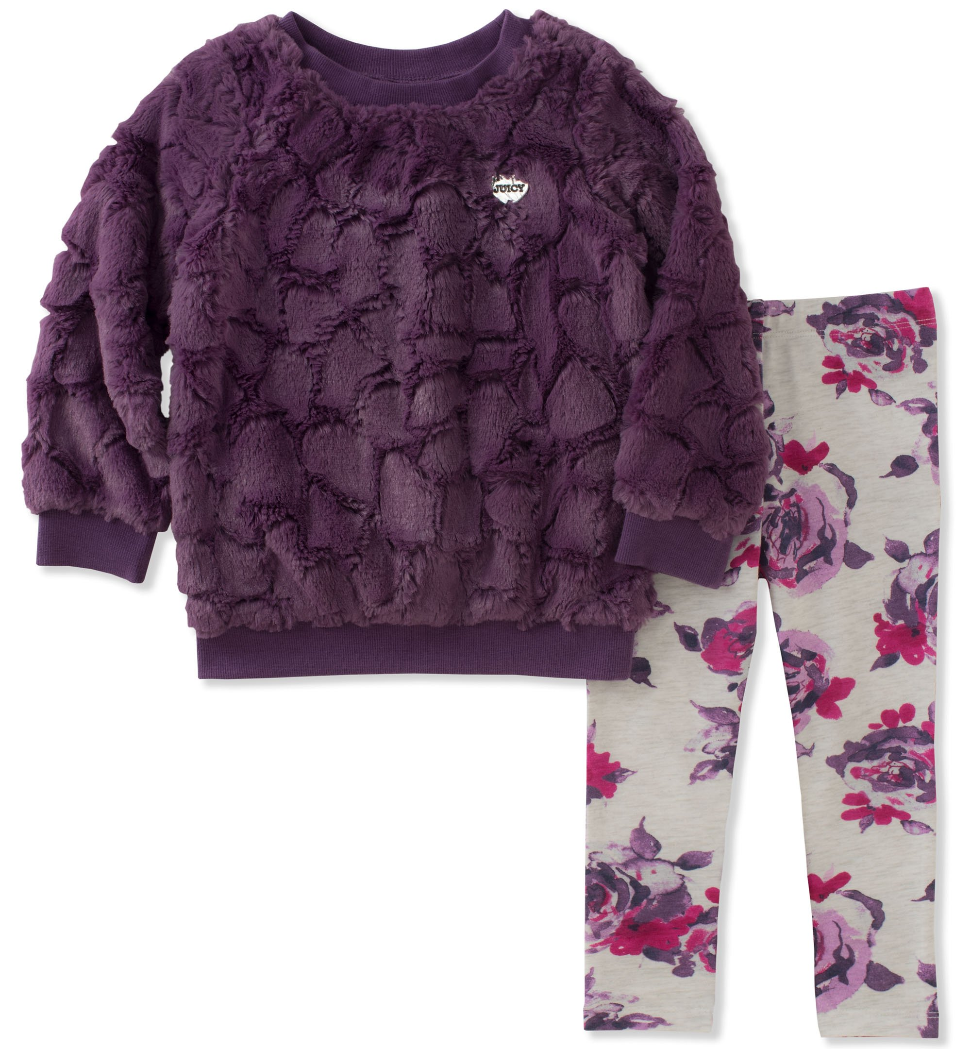 Juicy Couture Toddler Girls' Faux Fur Pant Sets, Country Plum/Print, 3T