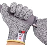 STAR JOINING Cut Resistant Gloves, Food Grade Level 5 Protection,Safety Kitchen and Outdoor Cut Gloves(Small,Two pairs)