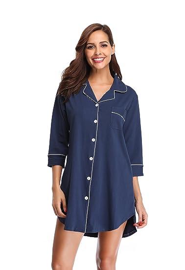 SHEKINI Chemise de Nuit en Coton à Manches 3 4 pour Femmes Robe de Nuit 2ed39e230e4