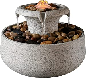 """Peaktop 2-Tiered Natural Tabletop Waterfall Zen Fountain with LED Light, Stone Gray, 6.9"""""""" Height"""